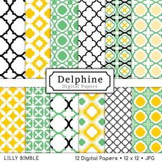 Delphine quatrefoil lattice digital papers for scrapbooking, cards. $4.50, via Etsy.
