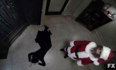 Killer Santa (Ian McShane) & Sister Jude (Jessica Lange) in Episode 8 of FX's American Horror Story: Asylum American Horror Story Asylum, Bad Santa, Character And Setting, Anthology Series, Ahs, Jessica Lange