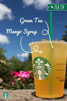 Here's a Tea Tip: Add some mango to your Starbucks Teavana Shaken Iced Green T. Here's a Tea Tip: Add some mango to your Starbucks Teavana Shaken Iced Green Tea to enjoy the relaxing refreshment of green tea with a tangy tropical burst. Starbucks Hacks, Starbucks Tea, Healthy Starbucks Drinks, Starbucks Secret Menu Drinks, How To Order Starbucks, Healthy Drinks, Starbucks Refreshers, Refreshing Drinks, Summer Drinks