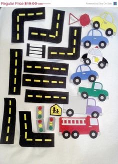 Holidays are coming sale Car felt shapes set  21 pieces felt shapes for flannel boards or felt boards Educational homeschool on Etsy, $16.15