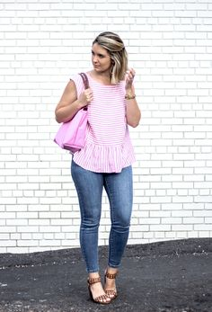 Summer Stripes - pink stiped shirt - affordable fashion blogger - affordable style - How 2 Wear It
