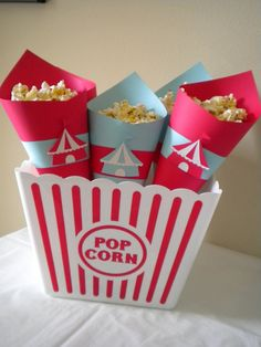 Circus Popcorn Cones-set of 24. $53.00, via Etsy.