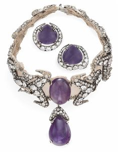 A SUITE OF AMETHYST AND RHINESTONE JEWELRY, BY IRADJ MOINI (=)