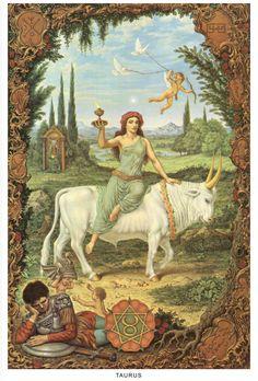 Johfra Bosschart Taurus: Venus on bull and Tarot High Priestess Taurus Art, Sun In Taurus, Zodiac Signs Taurus, Zodiac Art, Zodiac Star Signs, Astrology Zodiac, Taurus Bull, Taurus Horoscope, Libra
