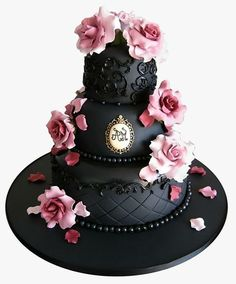 Daring Dark Florals For a Gothic Wedding Theme | CHWV - black and pink wedding cake