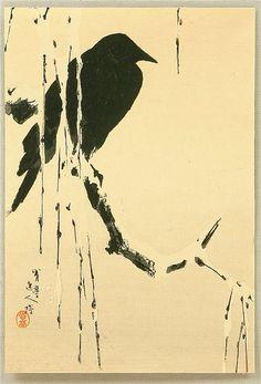 artelino - What is the artelino UKIYO-E ARCHIVE of more than Japanese prints for public display. Crow Art, Raven Art, Bird Art, Japanese Artwork, Japanese Painting, Japanese Prints, Crows Drawing, Tinta China, China Art