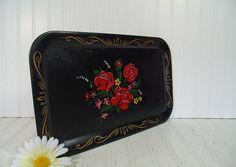 Vintage Black Enamel Metal Hand Painted Red Roses by DivineOrders, $12.00