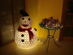 Snowman using plastic cups