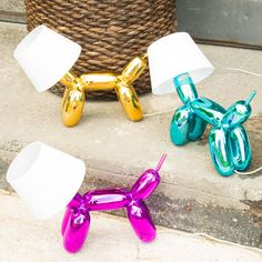 Metallic Balloon Dog Lamps