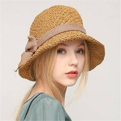 427d20cdc8d Crochet straw hat with linen bow for women summer foldable sun hats