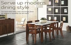 Dining Room Inspiration - Room & Board  I like the white table top mixed with the rich color of the wood legs and chairs.