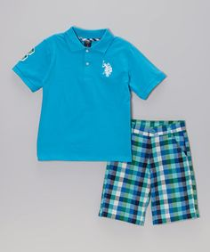 Turquoise Polo & Plaid Shorts - Infant, Toddler & Boys by U.S. Polo Assn. #zulily #zulilyfinds