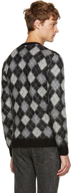 Mohair - Black & White Argyle Cardigan