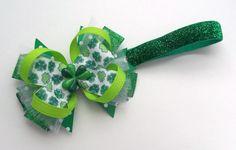 St. Patrick's Day Headband Boutique Handmade Baby Hair Bow