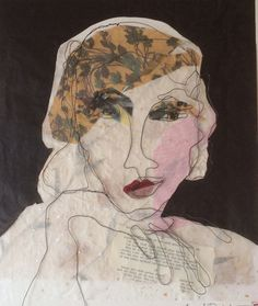 Mixed media. Steel wire portrait. Paper collage. Lydia. 50x50 cm.