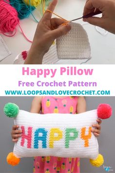 This Happy Pillow is a super fun crochet project that is sure to brighten your day! The front is done in Intarsia crochet for the letters, the back is done in rainbow stripes, and it's finished off with 4 colorful poms on the corners! ~Free crochet pattern by Loops and Love Crochet! Crochet Pillow Patterns Free, Tapestry Crochet Patterns, Crochet Stitches, Crochet Letters Pattern, Crochet Blocks, Afghan Crochet, Afghan Patterns, Crochet Granny, Rainbow Crochet