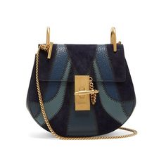Chloé Drew mini leather and suede cross-body bag (711.420 HUF) ❤ liked on Polyvore featuring bags, handbags, shoulder bags, blue, crossbody shoulder bag, leather crossbody handbags, chain strap crossbody, crossbody handbags and blue leather handbags
