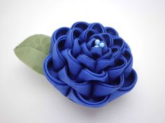 Large Blue Flower Hair Clip/ Kanzashi Inspired/ by JagataraArt