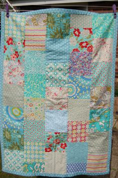 handmade patchwork cot quilt baby blanket lap by MaisyDaisyCrafts, £70.00