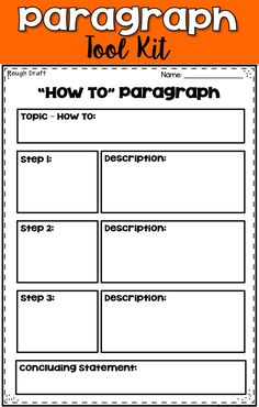 This paragraph writing pack contains differentiated graphic organizers and rubrics that will take your writers through the Writing Process. Learning the steps to the Writing Process will enable your students to write well developed paragraphs. Writing Worksheets, Writing Resources, Teaching Writing, Writing Activities, Printable Worksheets, Writing Ideas, Teaching Resources, Teaching Ideas, Paragraph Writing