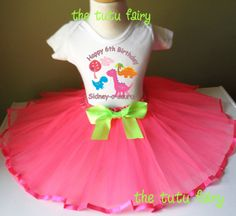 Girl Dinosaurs Birthday Outfit Set Pink Tutu Headband Shirt tee t-shirt name Age Custom Personalized 2t 3t 4t 5t 5 6 7