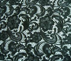 BLACK Lace Fabric Crochet Lace Fabric Wedding by prettylaceshop, $32.00