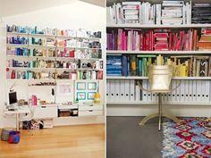 diy colour blocked bookshelves