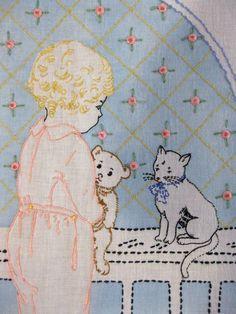 Embroidered Baby Crib Sheet Vintage Crib Bedding Nursery