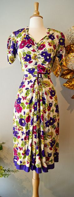 40s Dress // Vintage 1940s Rayon Floral Butterfly by xtabayvintage, $198.00