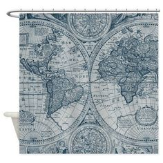 Fabric yardage one yard of antique world map fabric by mapology map shower curtain antique map aged look brown tones travel decor historical bathroom world maps gumiabroncs Choice Image
