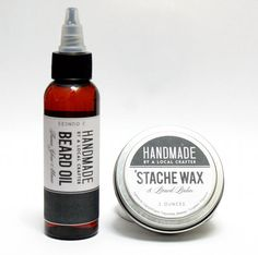 Homemade Father's Day Gift Idea - Natural Handmade DIY Beard Oil and Mustache Wax Recipes with Printable Labels