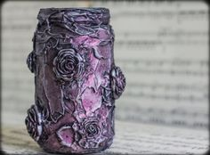 Mixed Media Aged Roses Jar - Altered Art -  Pink Metallic - OOAK