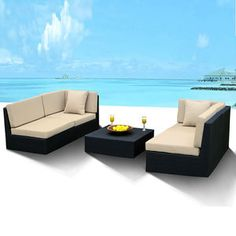 Outdoor Wicker Furniture New All Weather Patio Deep Seating Sectional Sofa Set Outdoor Wicker Furniture, Wicker Sofa, Patio Furniture Sets, Garden Furniture, Sectional Furniture, Sectional Sofa, Couch Set, Outdoor Sectional, Outdoor Living