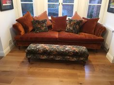 Bespoke sofa made by Zinc Interiors. Fits perfectly into bay area.