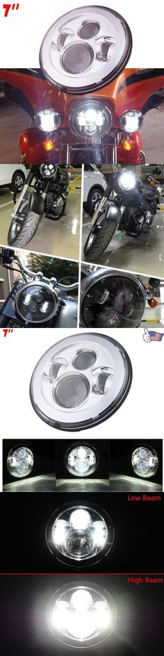 motorcycle parts: 7 Round Projector Daymaker Headlight For Harley Led Street Glide Flhx Chrome BUY IT NOW ONLY: $50.97