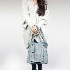 OASIS Blue Washed Leather Tote Handheld / Shoulder Bag