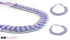 Inox washer necklace with lilac satin ribbon.