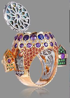 Alessio Boschi amethysts diamond and emerald ring, hes like an engineer, really brilliant!