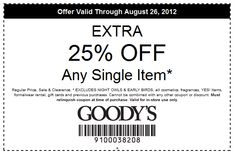 25% off a single item at Goodys coupon via The Coupons App