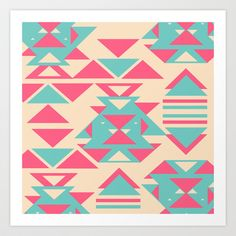 Modern Pink Turquoise Abstract Geometric Triangles Art Print by Girly Trend - $14.00