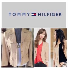 """Tommy Hilfiger Linen Blazer.  NWT. Tommy Hilfiger Linen Blazer, fully lined, 100% linen, dry clean, 19"""" armpit to armpit (38"""" all around), 17.5"""" arm inseam, 24"""" length, 4.75"""" back slit, three buttons at cuffs, tow faux front breast pockets, two front flap buttoned pockets, three button front closure, measurements are approx.  No PayPal...No Trades... Tommy Hilfiger Jackets & Coats Blazers"""