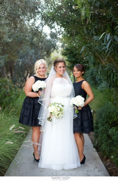 Elegant Black Bridesmaids Dresses | Cocktail Length Bridesmaids Dresses | La Jolla Wedding | San Diego Wedding Planner Swann Soirees | Heather Pepin Photography