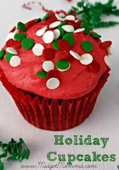 Chocolate Holiday Cupcakes with buttercream icing