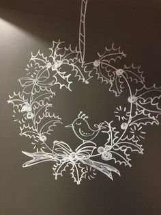 I would like to cut this with clear perspex Christmas Window Decorations, New Years Decorations, Christmas Signs, Christmas Time, Deco Noel Nature, Baby Shower Flowers, Window Art, Chalkboard Art, Reno