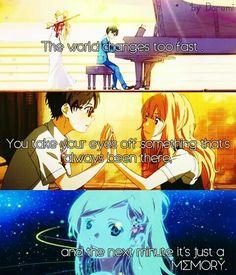 Anime : Your Lie in April (Shigatsu wa Kimi no Uso) Sad Anime Quotes, Manga Quotes, True Quotes, Heart Quotes, Anime People, Anime Guys, April Quotes, Miyazono Kaori, Your Lie In April