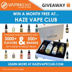 #Giveaway #Win 3 x #Customized #eJuice #Package - @HazeVapeClub Giveaway from @Vaping360 #vape #vaping #vaporizer  https://wn.nr/nyfvjJ