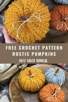 Easy free crochet pattern.  Crochet rustic farmhouse pumpkins with cinnamon stick. Step by step video tutorial #freecrochetpattern #diyfalldecor #easyfalldecor #crochetpumpkin #diypumpkin Crochet Gratis, Free Crochet, Knit Crochet, Free Easy Crochet Patterns, Autumn Crochet, Free Pumpkin Patterns, Crotchet, Crochet Leaf Free Pattern, Crochet Fall Decor