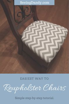 It's so easy to reupholster chairs. This DIY tutorial uses just 7 simple steps! #diy #furniture #home #momlife #decorating #homedecor