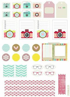 Lists and stickers, banners and frames printables for your planners with glasses and camera themes (lenses?)