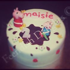 Peppa pig style birthday cake for Masie.  Find me on Facebook - Feendish Delights